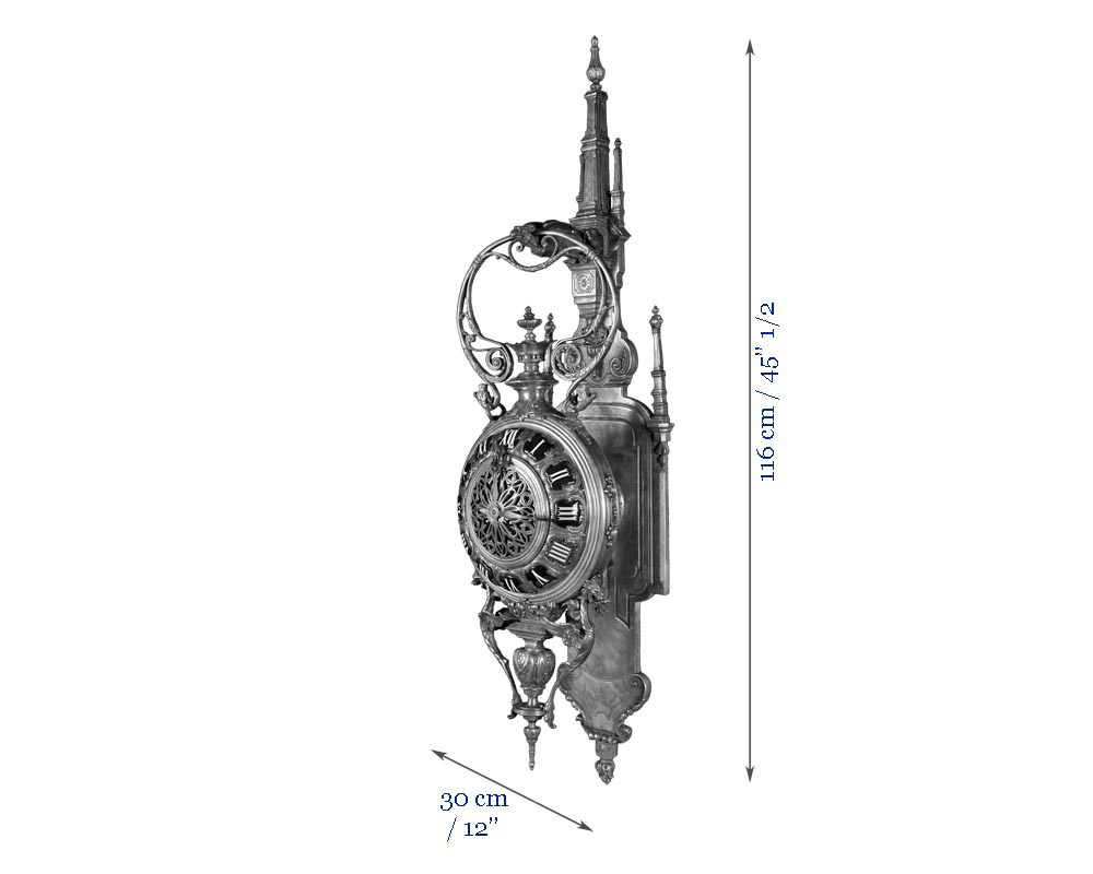 MARCHAND Léon and PIAT Frédéric-Eugène, Elegant silvered bronze and enamel cartel clock in the neo-Gothic style-4