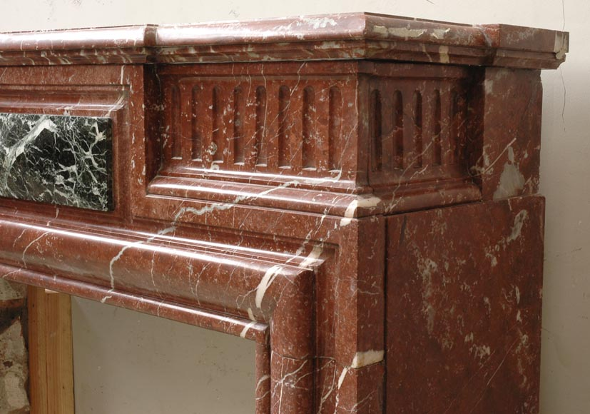 Louis XIV style mantel in Rouge du Nord marble-2