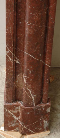 Louis XIV style mantel in Rouge du Nord marble-4
