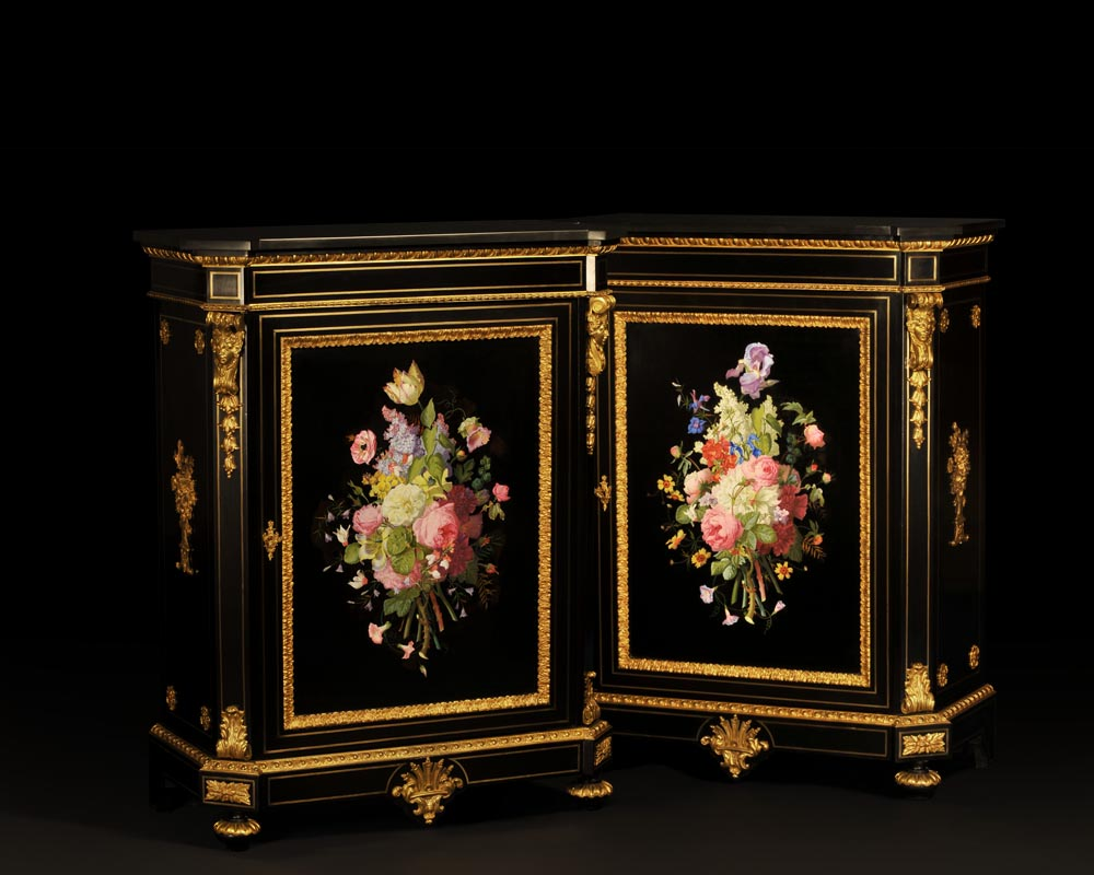 Julien-Nicolas RIVART (1802-1867) and Pierre-Joseph GUEROU - Pair of Side Cabinets decorated of bouquets in porcelain marquetry-0