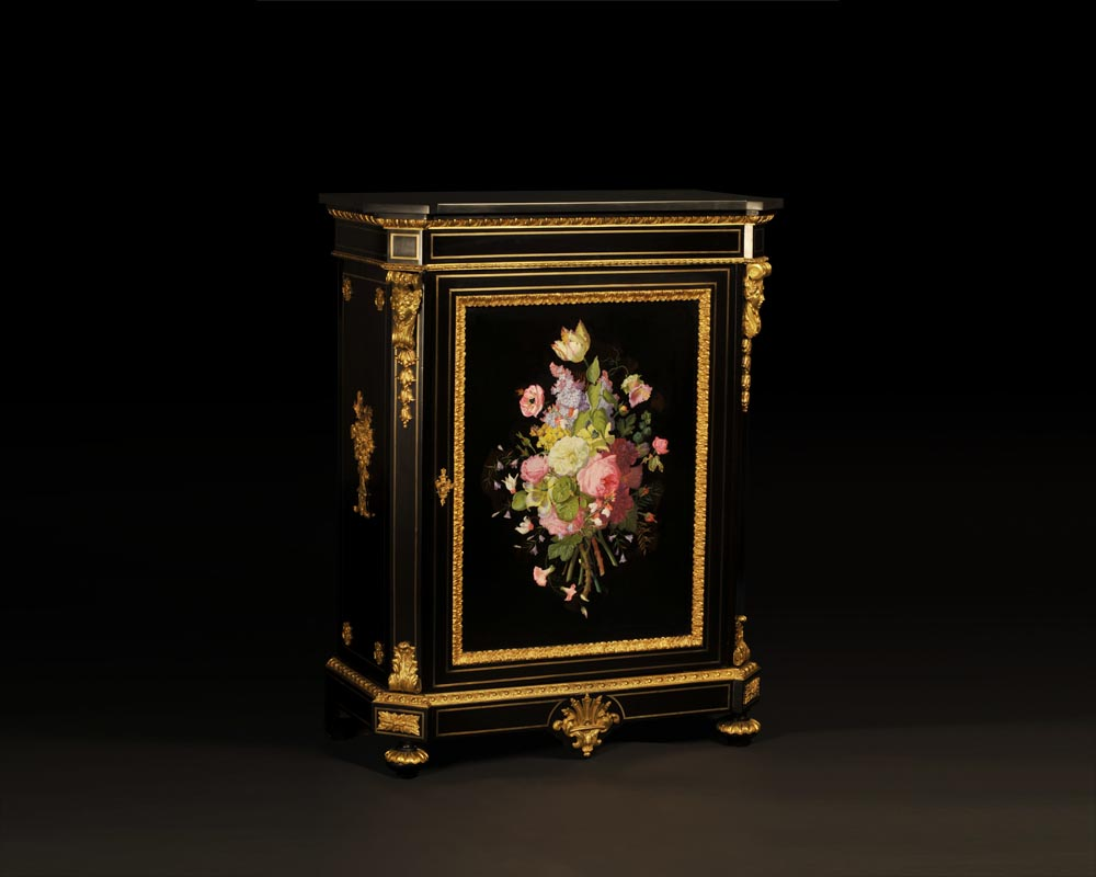 Julien-Nicolas RIVART (1802-1867) and Pierre-Joseph GUEROU - Pair of Side Cabinets decorated of bouquets in porcelain marquetry-1