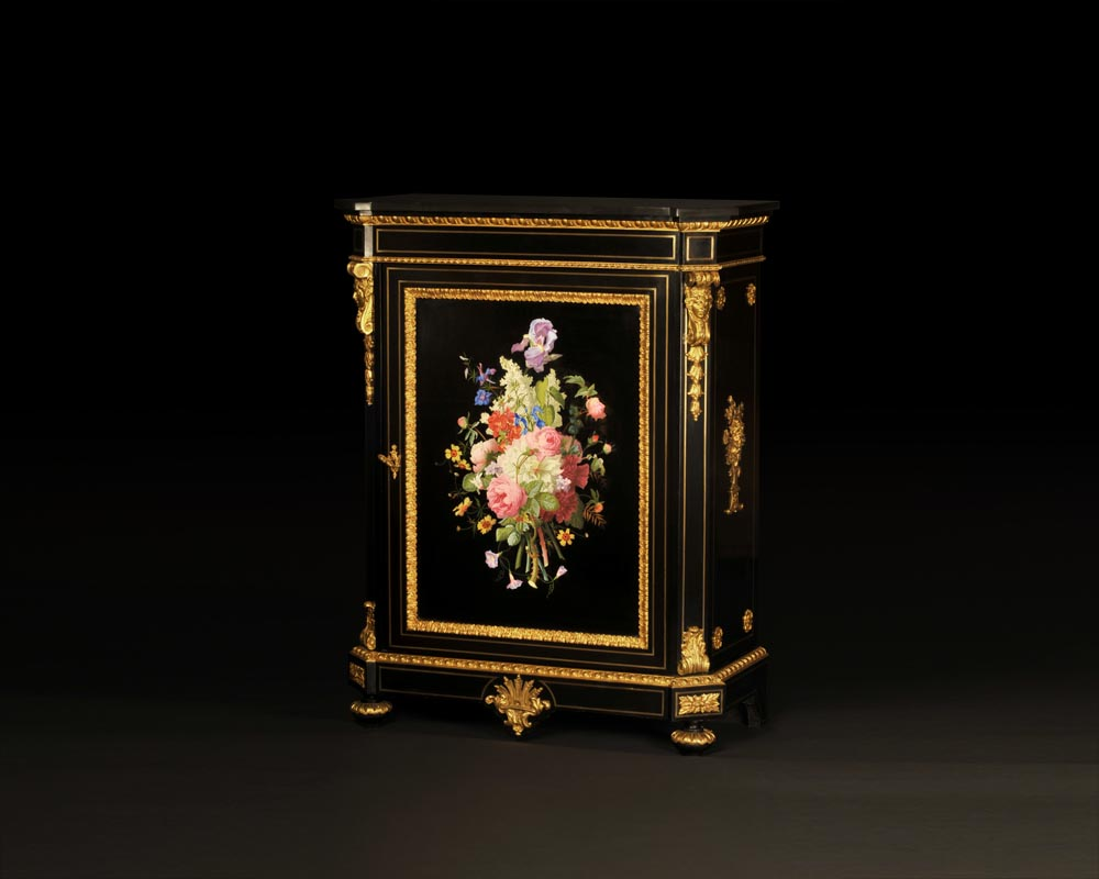 Julien-Nicolas RIVART (1802-1867) and Pierre-Joseph GUEROU - Pair of Side Cabinets decorated of bouquets in porcelain marquetry-2