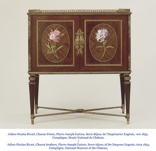 Julien-Nicolas RIVART (1802-1867) and Pierre-Joseph GUEROU - Pair of Side Cabinets decorated of bouquets in porcelain marquetry-7