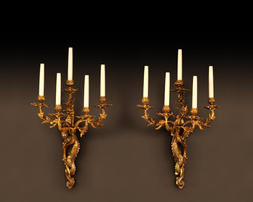 """The Dragons"", Rare pair of gilt-bronze wall sconces  in the Japanese taste-0"