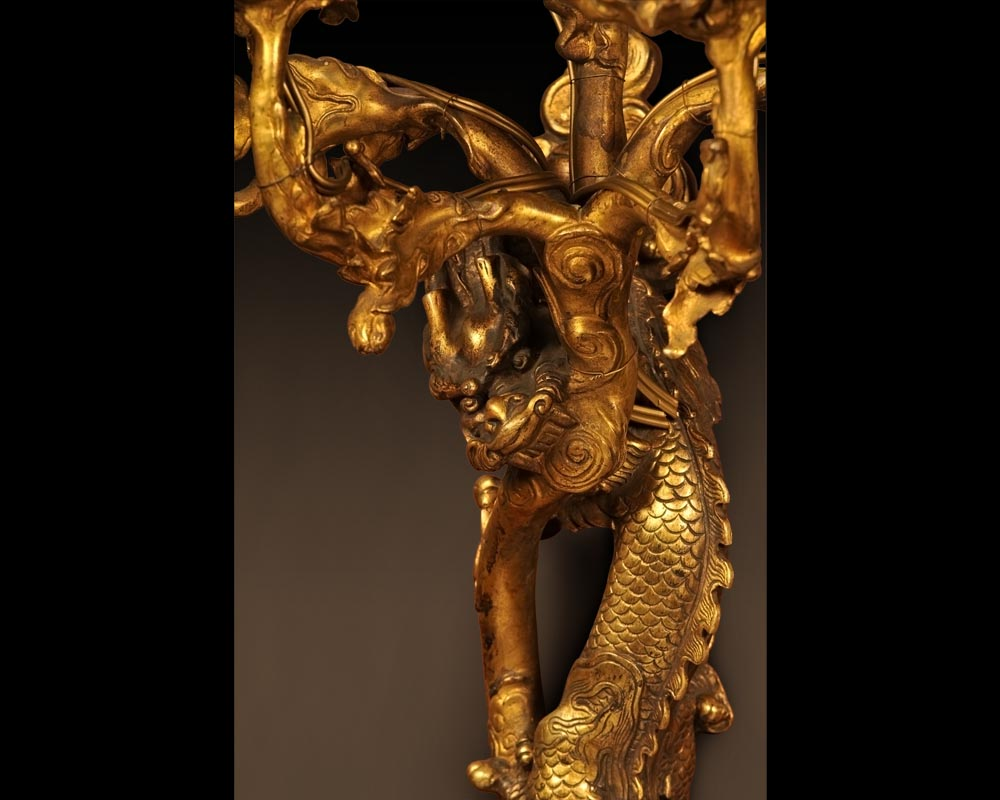 """The Dragons"", Rare pair of gilt-bronze wall sconces  in the Japanese taste-1"