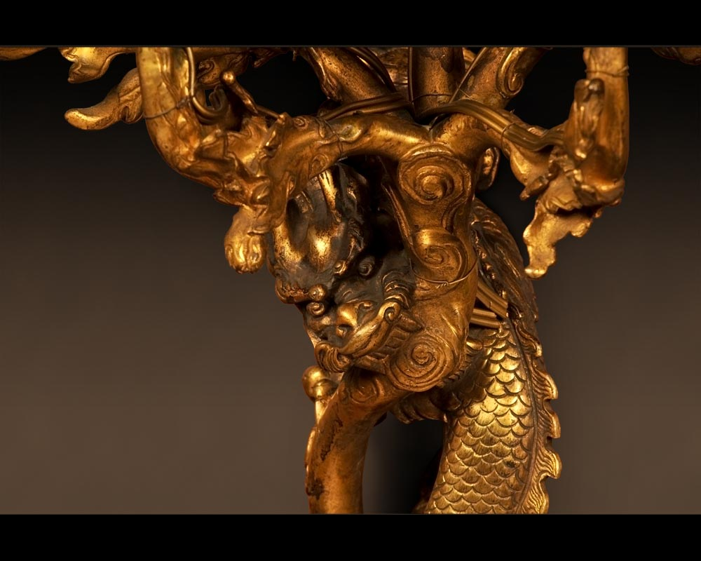 """The Dragons"", Rare pair of gilt-bronze wall sconces  in the Japanese taste-2"