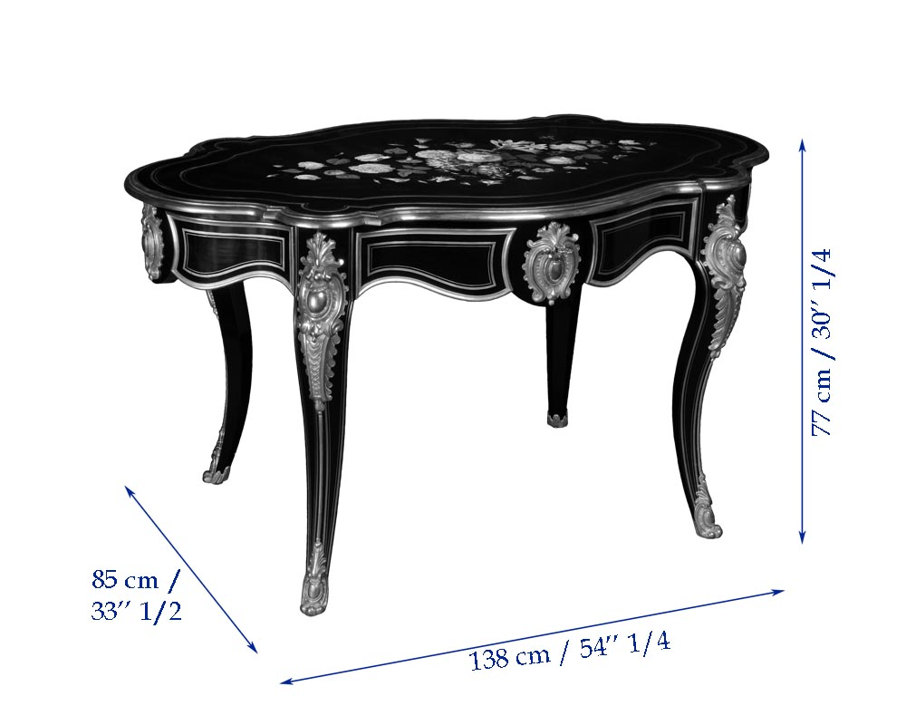 Julien-Nicolas RIVART (1802-1867) - Louis XV style table in ebonized pear wood inlaid with porcelain marquetry-3