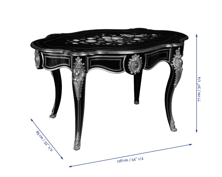 Julien-Nicolas RIVART (1802-1867) - Louis XV style table in ebonized pear wood inlaid with porcelain marquetry-4