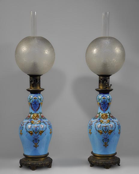 Pair of Neo-Renaissance lamps with Grotesque decor made out of blue ceramic and gilded bronze-0