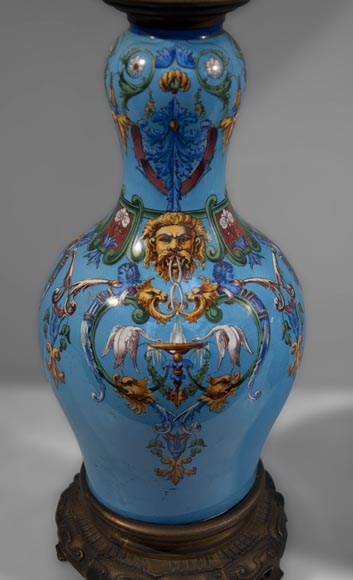 Pair of Neo-Renaissance lamps with Grotesque decor made out of blue ceramic and gilded bronze-1