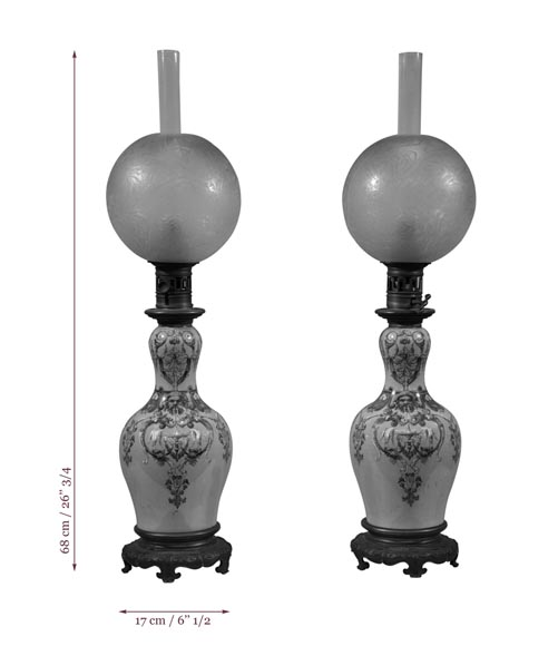 Pair of Neo-Renaissance lamps with Grotesque decor made out of blue ceramic and gilded bronze-5