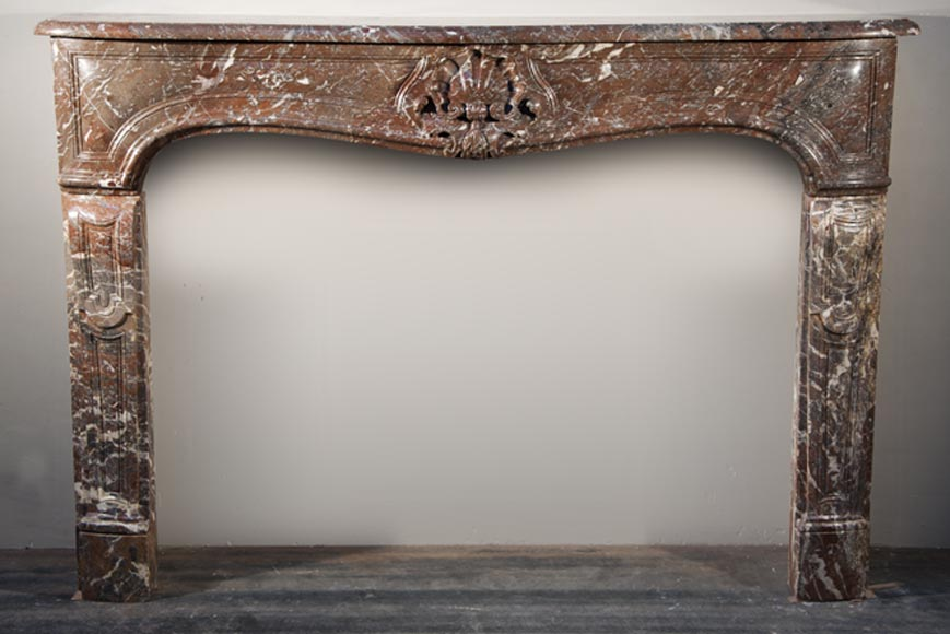 Antique Louis XV period fireplace made out of Red from the North marble - Reference 1739
