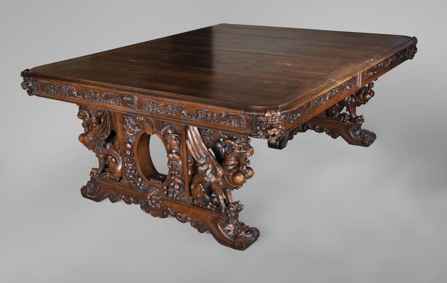 Beautiful antique Neo-Renaissance style walnut carved table with lions and mythical animals-0