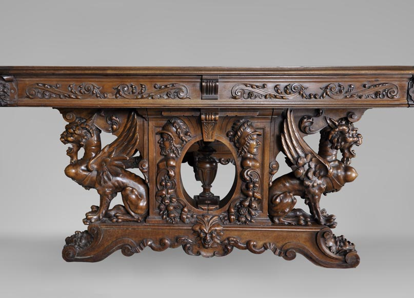Beautiful antique Neo-Renaissance style walnut carved table with lions and mythical animals-1