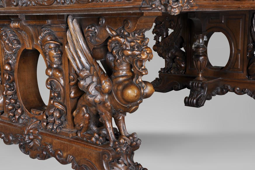 Beautiful antique Neo-Renaissance style walnut carved table with lions and mythical animals-2
