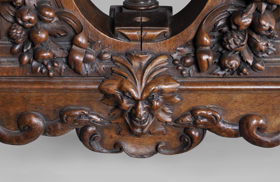 Beautiful antique Neo-Renaissance style walnut carved table with lions and mythical animals-6