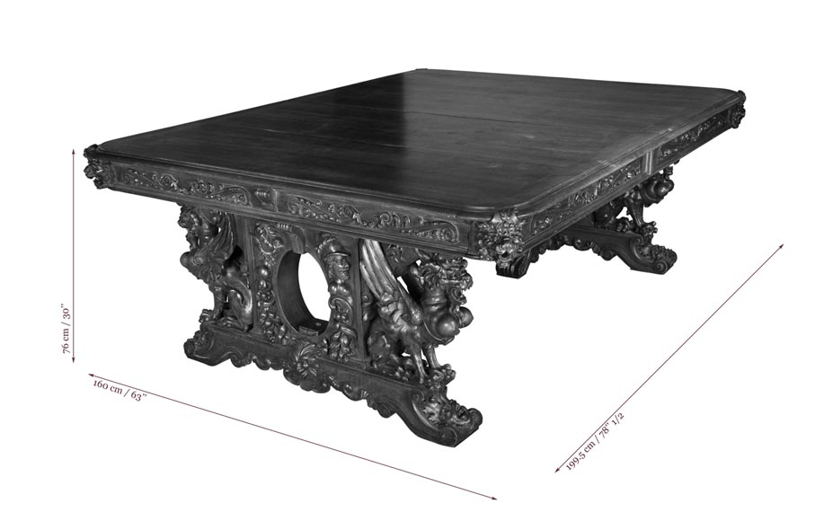 Beautiful antique Neo-Renaissance style walnut carved table with lions and mythical animals-8