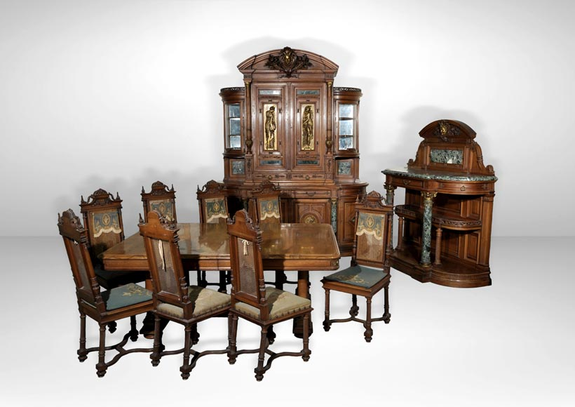 Eugène Frager, Meynard Manufacture (cabinetmaker), Ferdinand Barbedienne (bronze manufacturer), Louis-Constant Sevin (ornemanist) - Exceptional Neo-Renaissance style dining room set made out of carved walnut-0