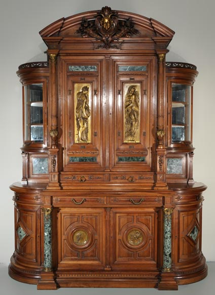 Eugène Frager, Meynard Manufacture (cabinetmaker), Ferdinand Barbedienne (bronze manufacturer), Louis-Constant Sevin (ornemanist) - Exceptional Neo-Renaissance style dining room set made out of carved walnut-1