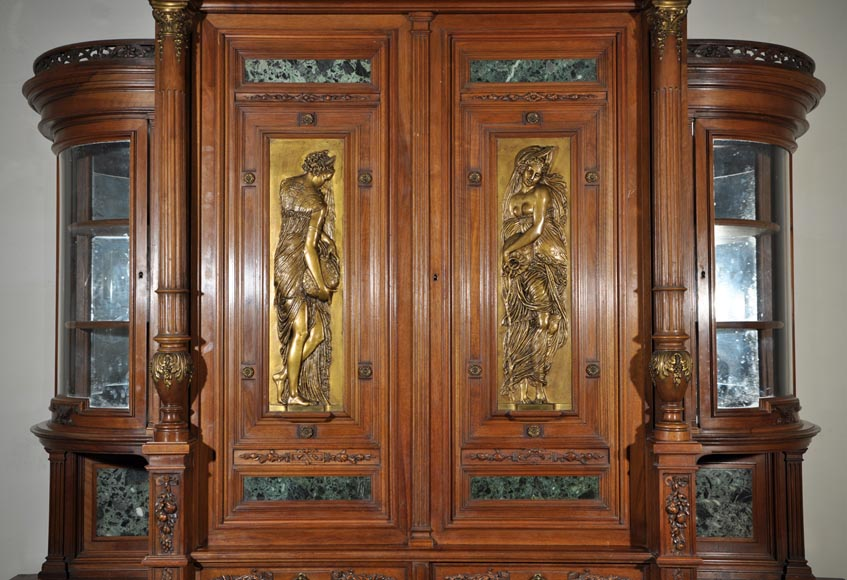 Eugène Frager, Meynard Manufacture (cabinetmaker), Ferdinand Barbedienne (bronze manufacturer), Louis-Constant Sevin (ornemanist) - Exceptional Neo-Renaissance style dining room set made out of carved walnut-2