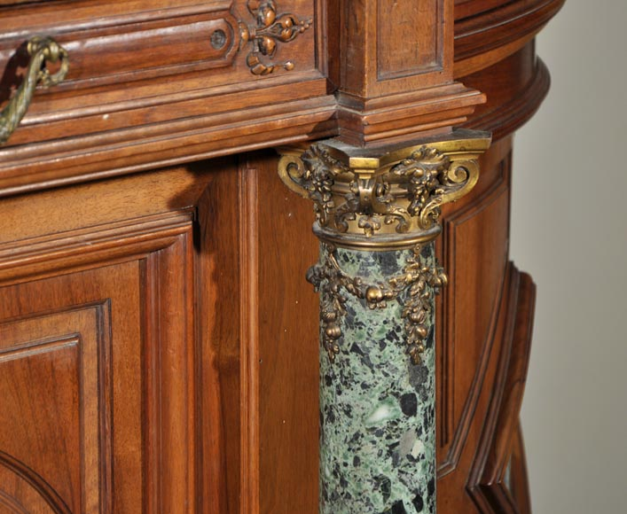 Eugène Frager, Meynard Manufacture (cabinetmaker), Ferdinand Barbedienne (bronze manufacturer), Louis-Constant Sevin (ornemanist) - Exceptional Neo-Renaissance style dining room set made out of carved walnut-11