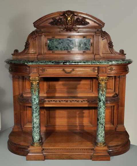 Eugène Frager, Meynard Manufacture (cabinetmaker), Ferdinand Barbedienne (bronze manufacturer), Louis-Constant Sevin (ornemanist) - Exceptional Neo-Renaissance style dining room set made out of carved walnut-12