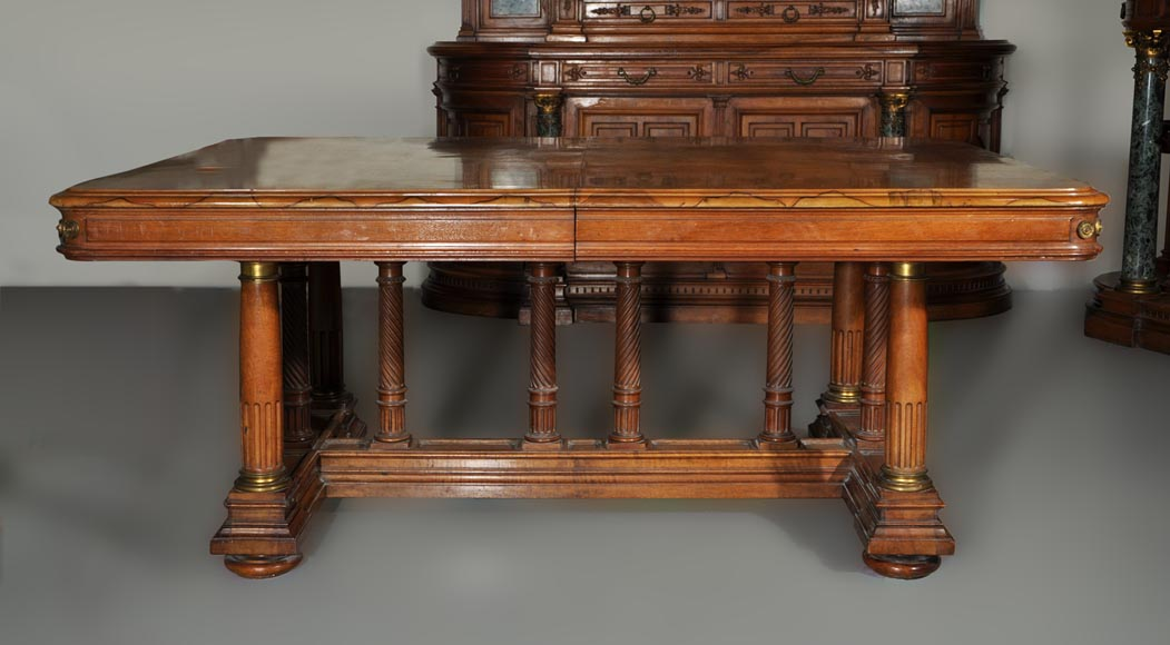 Eugène Frager, Meynard Manufacture (cabinetmaker), Ferdinand Barbedienne (bronze manufacturer), Louis-Constant Sevin (ornemanist) - Exceptional Neo-Renaissance style dining room set made out of carved walnut-15