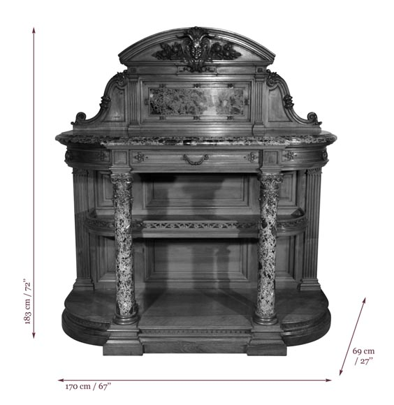 Eugène Frager, Meynard Manufacture (cabinetmaker), Ferdinand Barbedienne (bronze manufacturer), Louis-Constant Sevin (ornemanist) - Exceptional Neo-Renaissance style dining room set made out of carved walnut-22