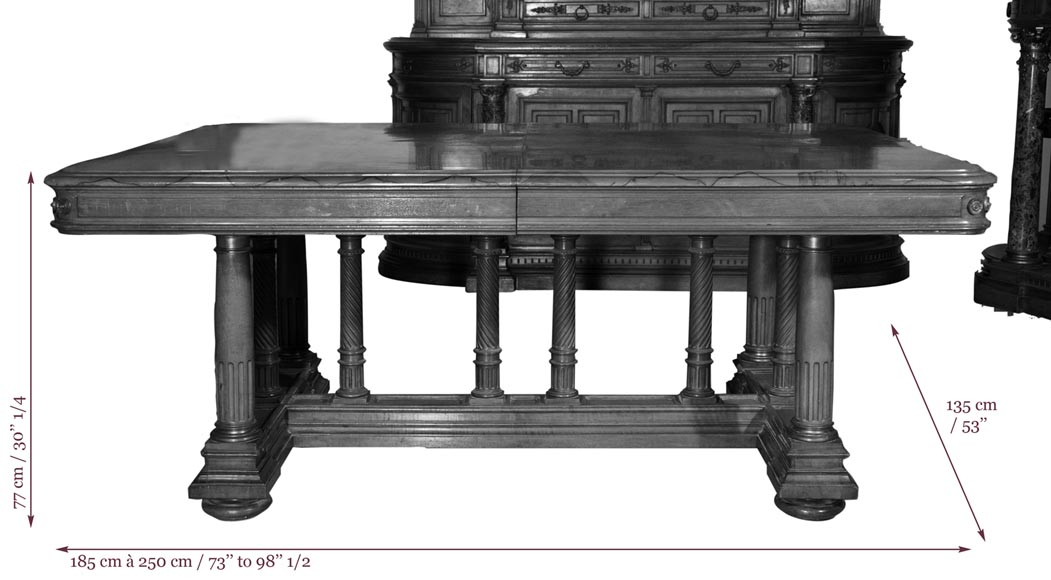 Eugène Frager, Meynard Manufacture (cabinetmaker), Ferdinand Barbedienne (bronze manufacturer), Louis-Constant Sevin (ornemanist) - Exceptional Neo-Renaissance style dining room set made out of carved walnut-24