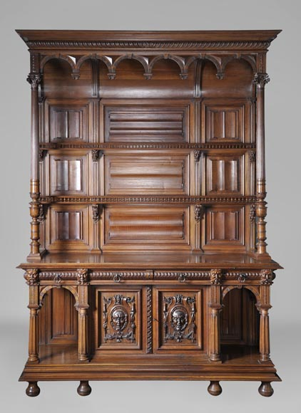 Large antique Neo-Gothic style carved walnut dresser with Satyrs decor-0