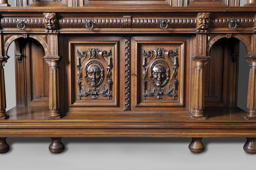 Large antique Neo-Gothic style carved walnut dresser with Satyrs decor-1