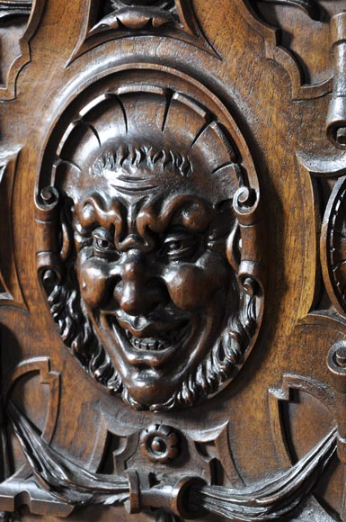 Large antique Neo-Gothic style carved walnut dresser with Satyrs decor-3