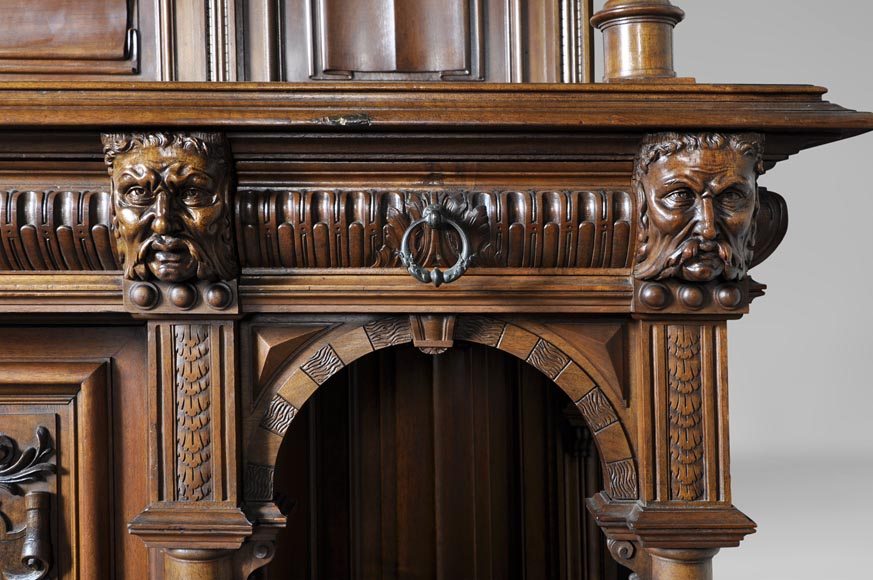 Large antique Neo-Gothic style carved walnut dresser with Satyrs decor-4
