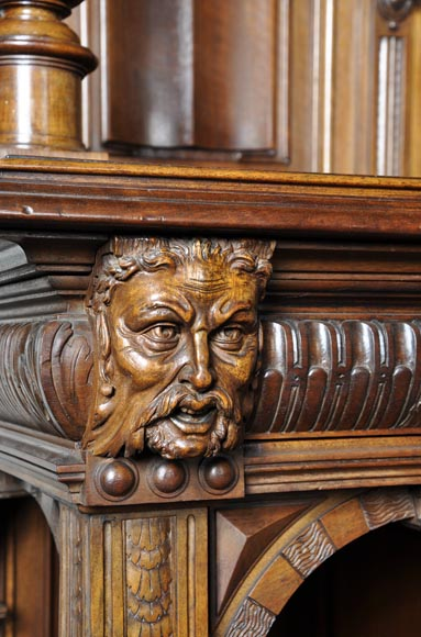 Large antique Neo-Gothic style carved walnut dresser with Satyrs decor-5
