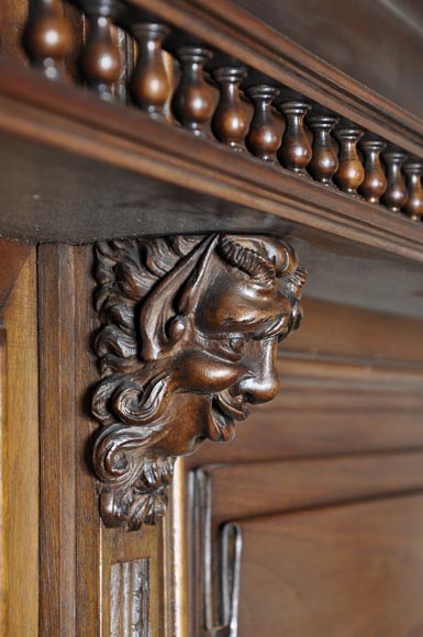 Large antique Neo-Gothic style carved walnut dresser with Satyrs decor-6