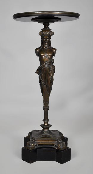 Patinated bronze pedestal table with Hermes-0