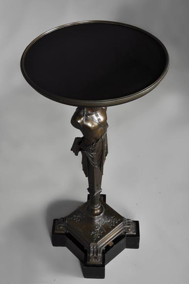 Patinated bronze pedestal table with Hermes-6