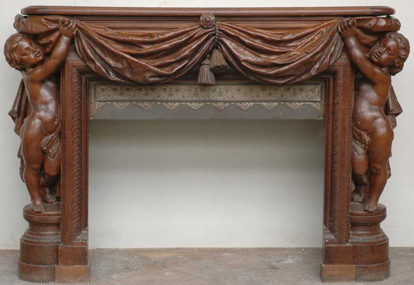 Exceptionnal oak mantel by Louis Boileau and Léon Perrey-0