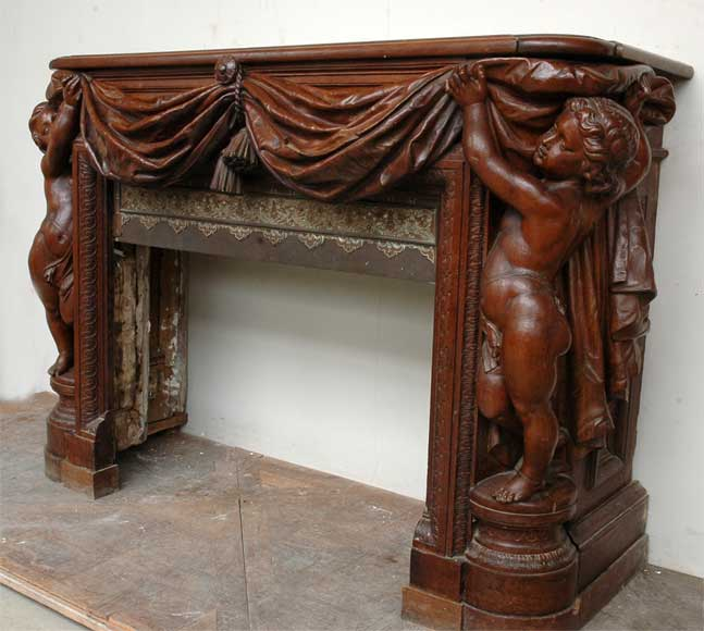 Exceptionnal oak mantel by Louis Boileau and Léon Perrey-10
