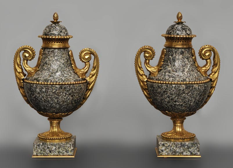 Pair of granite and gilded bronze cassolettes after a model by Pierre Gouthière-0