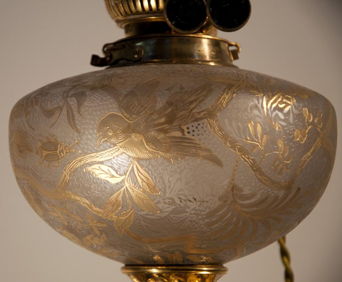 Magnificent Satzuma vase with man and woman decor mounted as a lamp with bronzes attributed to Ferdinand Barbedienne-7