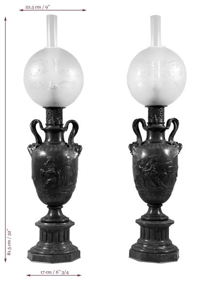 Ferdinand BARBEDIENNE - Pair of Neo-Classic bronze lamps after a model by Clodion-11