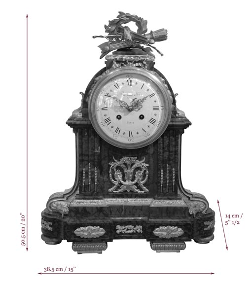 RAINGO FRERES - Louis XVI style clock made out of Red Griotte marble and gilded bronze-6