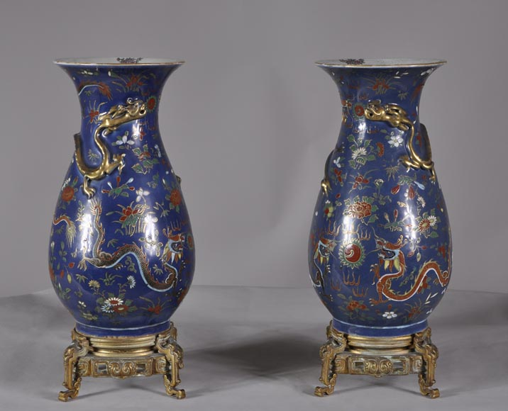 """Dragon vases"" Pair of Polychrome porcelain bronze-mounted vases-0"