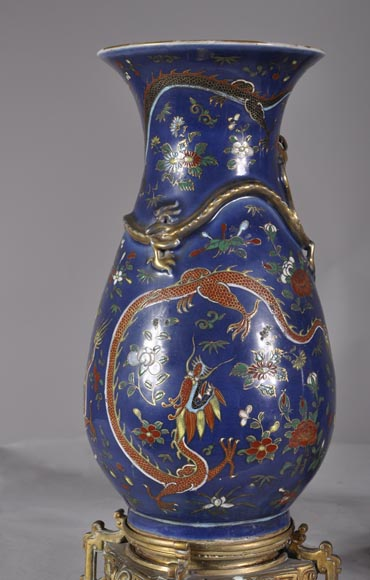 """Dragon vases"" Pair of Polychrome porcelain bronze-mounted vases-5"