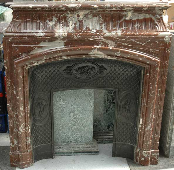 Antique Louis XIV style mantel in Red of the North marble-0