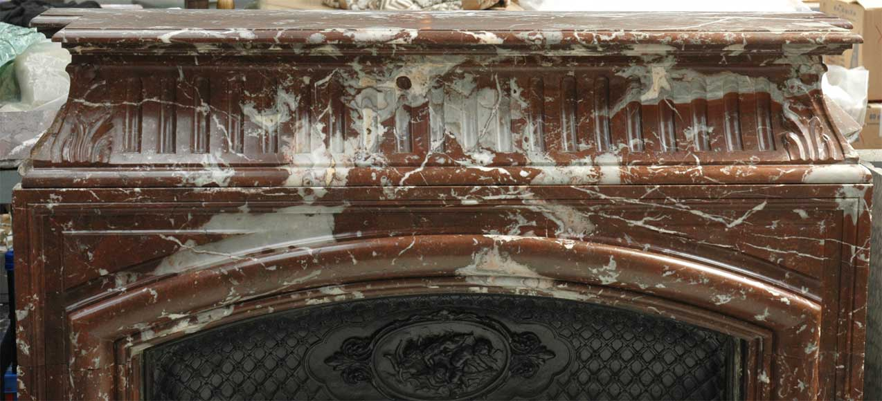 Antique Louis XIV style mantel in Red of the North marble-1