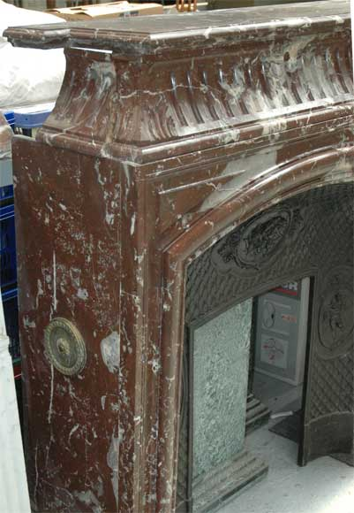 Antique Louis XIV style mantel in Red of the North marble-3