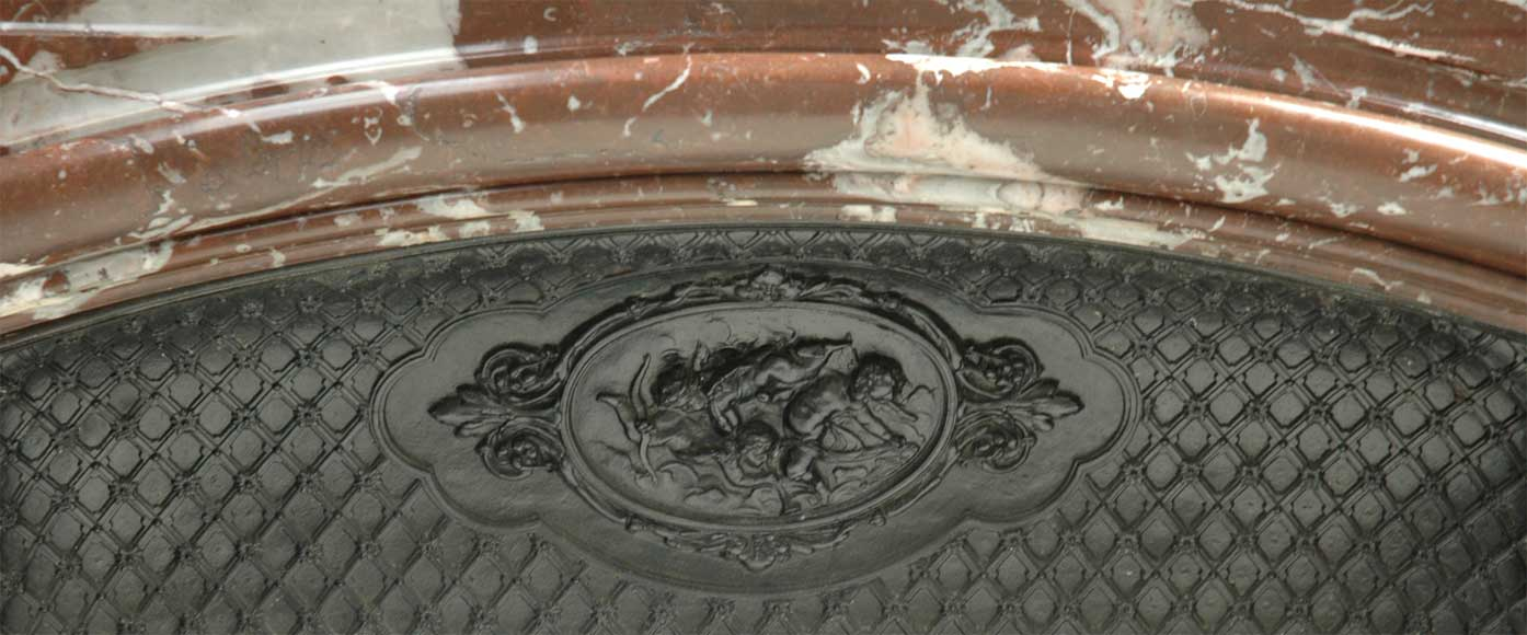 Antique Louis XIV style mantel in Red of the North marble-5