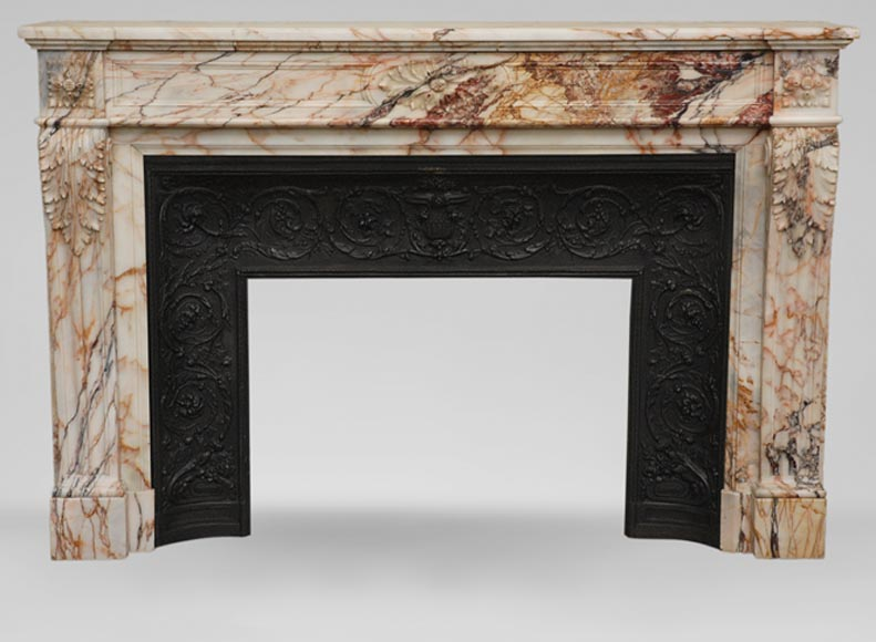 Antique Louis XVI style mantel in Orange veined marble in Skyros marble - Reference 1783